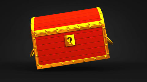 Red Treasure Chest On Black Background Animation