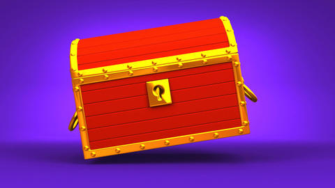 Red Treasure Chest On Purple Background Animation