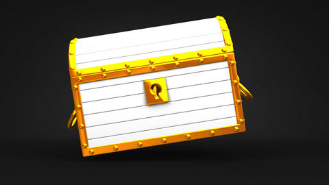 White Treasure Chest On Black Background CG動画