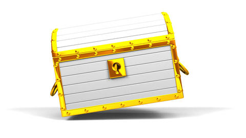 White Treasure Chest On White Background CG動画