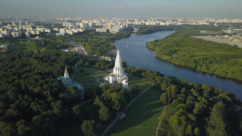 Fly over Kolomenskoye park and Moscow river Footage