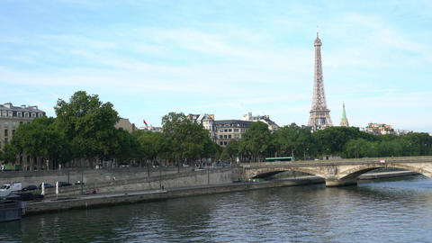 The Seine river in Paris Footage