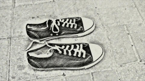 Drawing time-lapse animation of two shoes (loop ready) Archivo