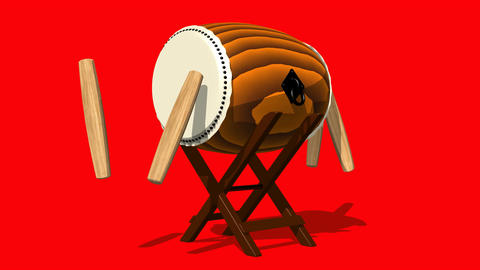 Loopable Asian Drum And Sticks On Red Background Animation