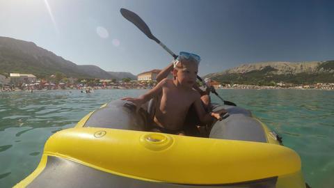 Riding a sea kayak Footage