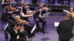 The conductor and musicians of the orchestra on stage Footage
