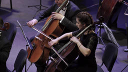 The girl musician the cellist plays the cello on the stage Footage