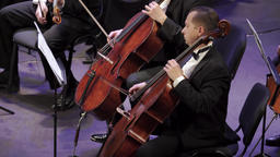 Male cellist musician playing cello in orchestra Footage