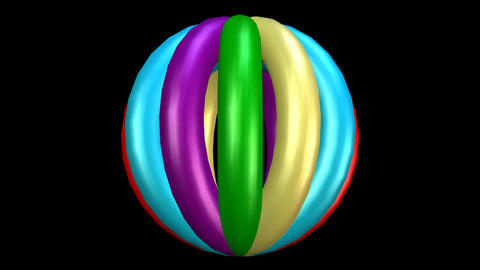 3d spehre object composed from rotating multicolored torus, looping intro video  Animation