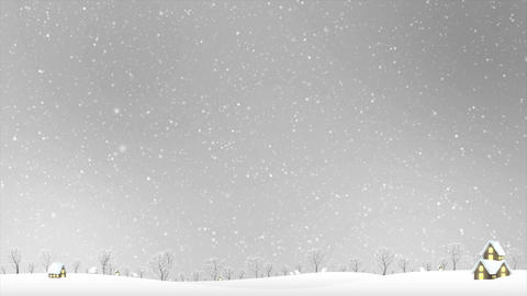 4K Landscape of house and winter snow falling over gray sky night with particle Footage