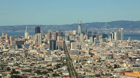 High angle Zoom in over San Francisco downtown Footage