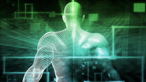 Digital Health System Software and Body Technology as Concept Live Action