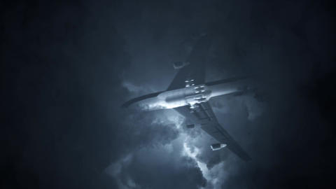 Aircraft Flying in a Lightning Storm Footage