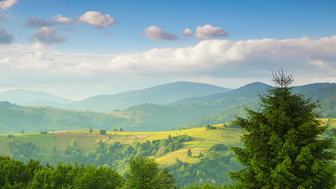 Clouds over Carpathian Mountains and Valleys. Time Lapse Image