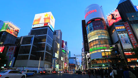 Twilight shot of Ginza shopping area in Tokyo.version of facing south Footage