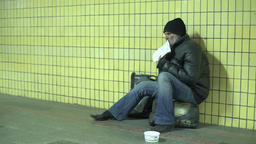 Homeless tramp in the underpass Footage