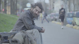 Homeless in the city street Footage