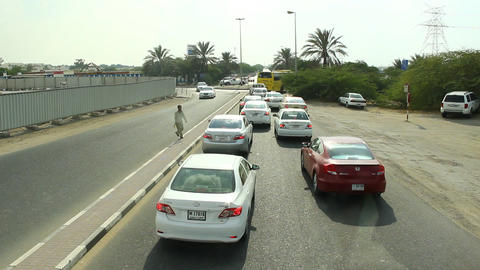 POV time lapse drive from local road to Sheik Zayed highway Footage