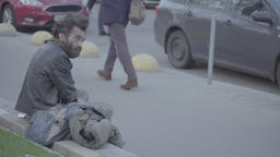 Homeless beggar in the city Footage