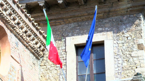 Italian and European Union waving flags Footage