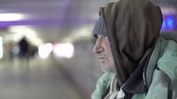 Poverty. Beggar homeless tramp Footage