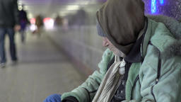 Poverty. A crisis. Beggar homeless tramp Footage