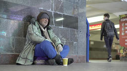Beggar homeless tramp Footage