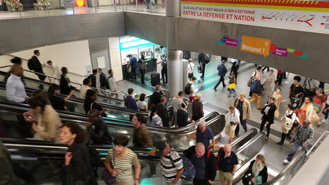 Escalators in the metro station in Paris Footage