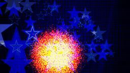 LED screen. Comet, ball, explosion, stars, backlight ビデオ