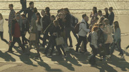 Overpopulation. A crowd of people cross the road on a pedestrian crossing Footage