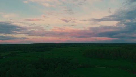 Drone Flight to Sunset, field, forest, river Footage