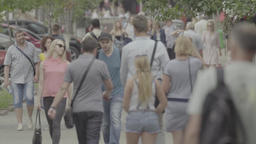 People on a crowded street. Crowd. Slow motion Footage