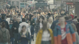 Crowd. 4K. Crowded street Footage