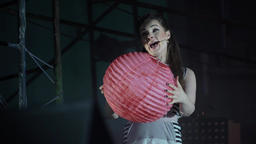 Opera. Theater. The woman actress plays a role on the stage ビデオ