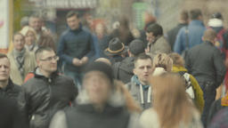 The crowded street of the metropolis. Crowd Footage