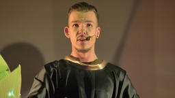 Opera. The male actor plays a role in the theater on stage ビデオ