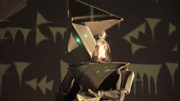 Acting. Theater. Actress in a robot suit made of paper on the stage Footage