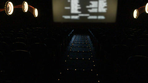 Empty movie theater with final credits rolling Image