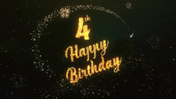 4th Happy birthday Greeting Text Made from Sparklers Light Colorfull Firework Animation