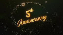 5th Anniversary Greeting Text Made from Sparklers Light Colorfull Firework Animation