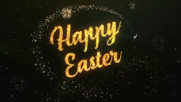 Happy Easter Greeting Text Made from Sparklers Light Colorfull Firework Animation