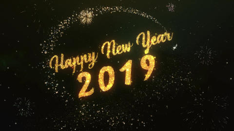 Happy New Year 2019 Greeting Text Made from Sparklers Light Colorfull Firework Animation