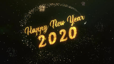 Happy New Year 2020 Greeting Text Made from Sparklers Light Colorfull Firework Animation