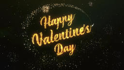 Happy Valentines Day Greeting Text Made from Sparklers Light Dark Colorfull Fire Animation