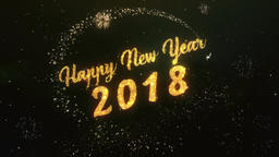 Happy New Year 2018 Greeting Text Made from Sparklers Light Colorfull Firework Animation