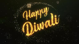 Happy dipawali Greeting Text Made from Sparklers Light Colorfull Firework Animation