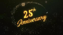 25th Anniversary Greeting Text Made from Sparklers Light Colorfull Firework Animation