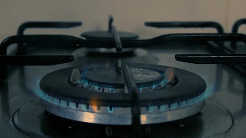 Cinemagraph of gas burning from a kitchen gas stove Filmmaterial
