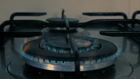 Cinemagraph of gas burning from a kitchen gas stove Footage