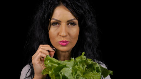 Vegetarian young woman healthy eating fresh green salad Stock Video Footage